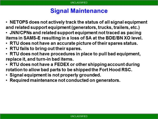 NETOPS Trends From NTC - Signal Maintenance